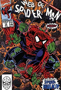 web of spider man #70 okladka hulk spider man