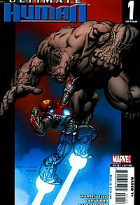 ultimate human #1 okladka hulk iron man